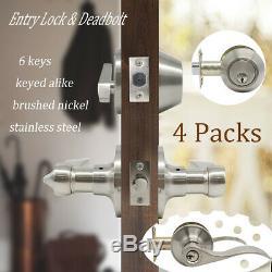 4Sets Exterior Front Entry Door Lock Set Wave Handle Lever Keyed Single Deadbolt