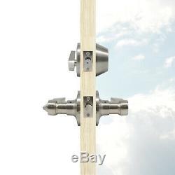 4Sets Exterior Front Entry Door Lockset Brushed Wave Handle Lever Keyed Deadbolt