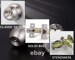 All Keyed Same Entry Door Knobs with Double Cylinder Deadbolt for Exterior Front