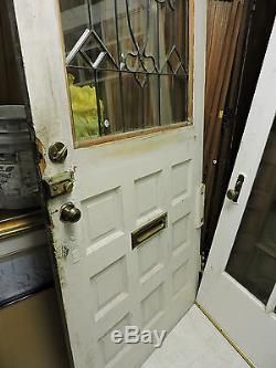Antique 9 Panel Exterior Entry Front Wood Tiger Oak Door Beveled Glass 89 X 40