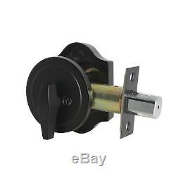 Black Front Entry Door Handle Lever Handleset with Single Deadbolt Door Knobs