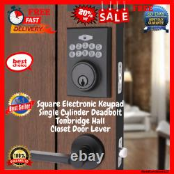 Electronic Keypad Front Door Lock Single Cylinder With Handle Lever Combo Set
