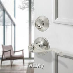 Exterior Front Entry Door Lock Handle set Brushed Nickel Lever Knobs Deadbolts