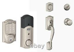 Schlage Front Entry Satin Nickle Georgian Handleset Plus Touchscreen Keypad