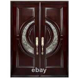 Solid Wood Front DoorHigh Class Crescent Glass Exterior Entry House Wood Door