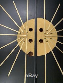 Wow Brutalist Asian Mid Century Double Door Front Entry Exterior MCM Starburst
