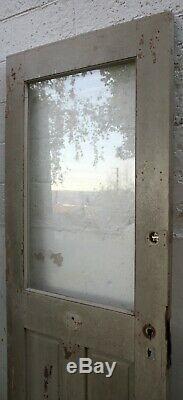 35x79 Antique Vintage Bois En Bois Extérieur Entrée Porte Avant Fenêtre Panneau De Verre