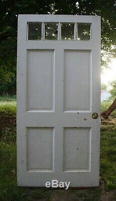 36x78 Antique Vintage Vieux Bois Extérieur Avant Porte D'entrée 4 En Verre Fenêtre En Bois