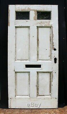 36x78 Antique Vintage Vieux Bois Extérieur Porte D'entrée En Bois Avant 2 Fenêtre En Verre
