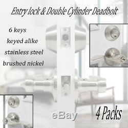 4 Pack Brossé Extérieur Avant Porte D'entrée Poignée De Verrouillage Entrouvrant Double Pêne Dormant
