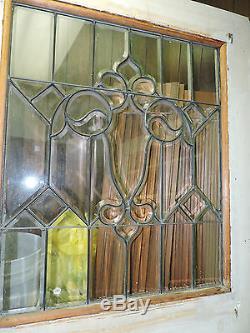 Antique 9 Panneau Extérieur Entrée Avant Tigre De Bois Chêne Porte Biseautés Verre 89 X 40