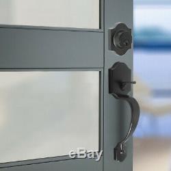 Porte D'entrée Avant Noir Poignée À Levier Avec Serrure À Pêne Dormant Simple Boutons De Porte